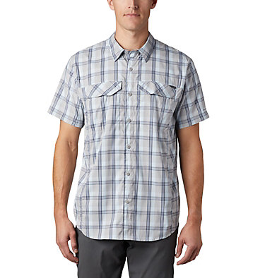 Men's Silver Ridge Lite Plaid™ Short Sleeve – Big Silver Ridge Lite Plaid™ Short Sleeve | 466 | 1X, Columbia Grey Grid Plaid, front