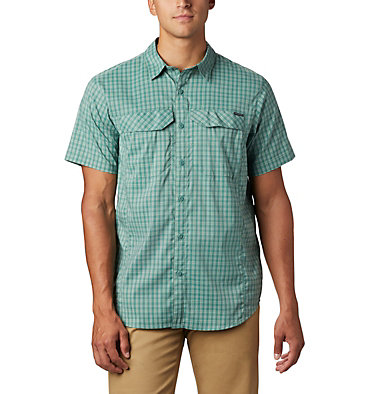 Men's Silver Ridge Lite Plaid™ Short Sleeve – Big Silver Ridge Lite Plaid™ Short Sleeve | 466 | 1X, Thyme Green Gingham, front