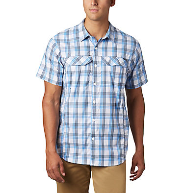 Men's Silver Ridge Lite Plaid™ Short Sleeve – Big Silver Ridge Lite Plaid™ Short Sleeve | 466 | 1X, Azure Blue Grid Plaid, front