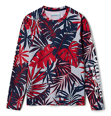 Kids' PFG Super Terminal Tackle™ Long Sleeve Shirt Super Terminal Tackle™ Long Sleeve | 469 | L, Collegiate Navy Tropical Textures, front
