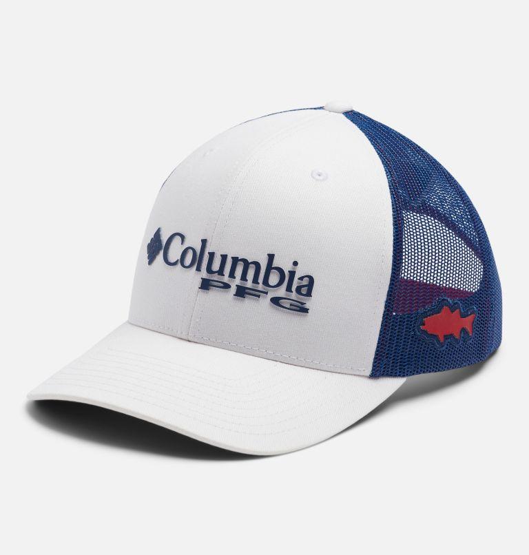 PFG Mesh Snap Back™ Ball Cap | 106 | O/S PFG Mesh Snap Back™ Ball Cap, White, Carbon, Red Spark, Striper, front