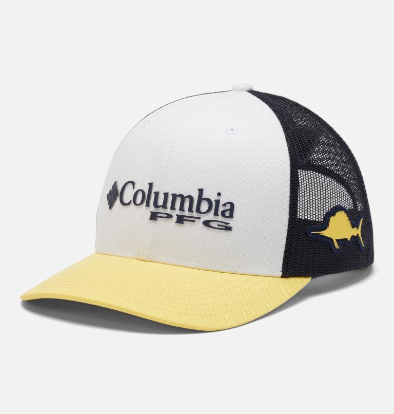 PFG Mesh Snap Back™ Ball Cap   107   O/S PFG Mesh Snap Back™ Ball Cap, White, Collegiate Navy, Sun Glow, Marlin, front