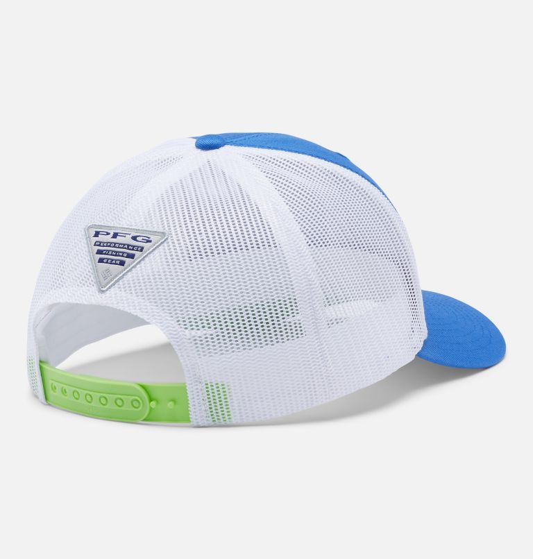 PFG Logo™ Mesh Snap Back - High | 493 | O/S PFG Mesh Snap Back™ Ball Cap, Vivid Blue, Lime Glow, Marlin, back