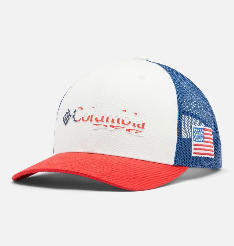 PFG Mesh Snap Back™ Ball Cap   697   O/S PFG Mesh Snap Back™ Ball Cap - USA, Red Spark, US Flag, front