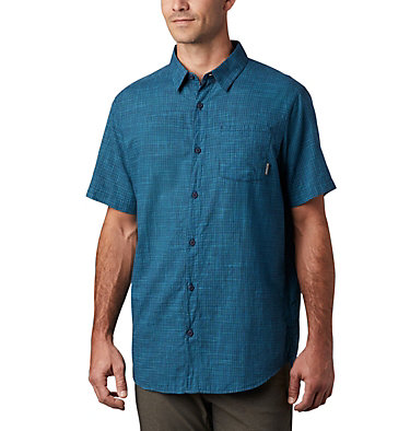 Men's Under Exposure™ Yarn-Dye Short Sleeve Shirt Under Exposure™ YD Short Sleeve Shirt | 100 | L, Collegiate Navy Plaid, front
