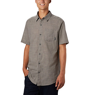 Men's Under Exposure™ Yarn Dye Short Sleeve Shirt – Big Under Exposure™ YD Short Sleeve Shirt | 100 | 1X, City Grey Plaid, front