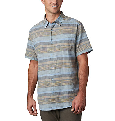 Men's Under Exposure™ Yarn Dye Short Sleeve Shirt – Big Under Exposure™ YD Short Sleeve Shirt | 100 | 1X, Sky Blue Stripe, front