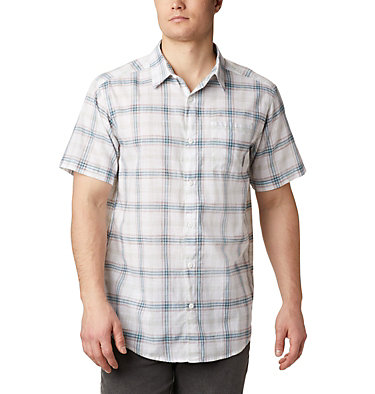 Men's Under Exposure™ Yarn Dye Short Sleeve Shirt – Tall Under Exposure™ YD Short Sleeve Shirt | 100 | 3XT, White Tartan Plaid, front