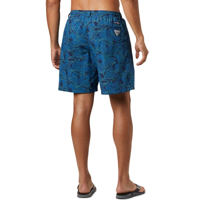 Super Backcast™ Water Short | 472 | S Men's PFG Super Backcast™ Water Shorts, Collegiate Navy Fish Wave Print, back