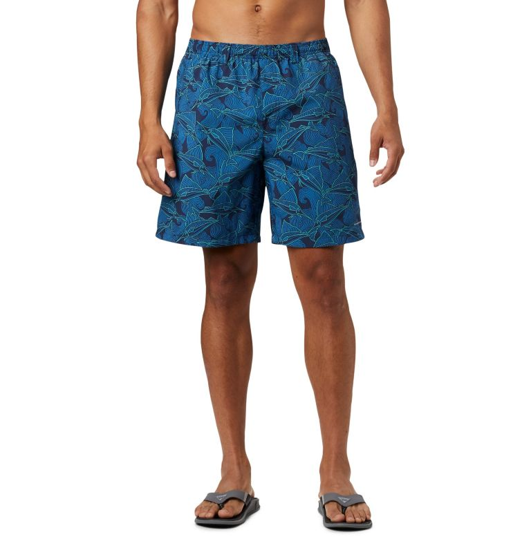 Super Backcast™ Water Short | 472 | S Men's PFG Super Backcast™ Water Shorts, Collegiate Navy Fish Wave Print, front