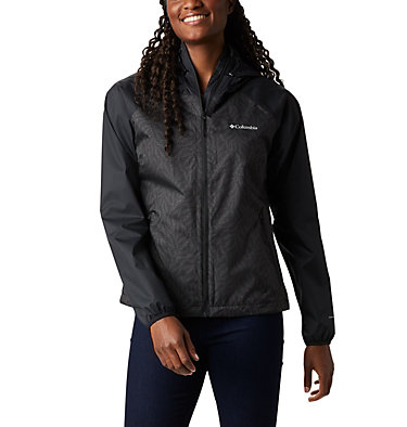 Women's Ulica™ Rain Jacket Ulica™ Jacket | 456 | XS, Black, Black Ferny Ferns Print, front