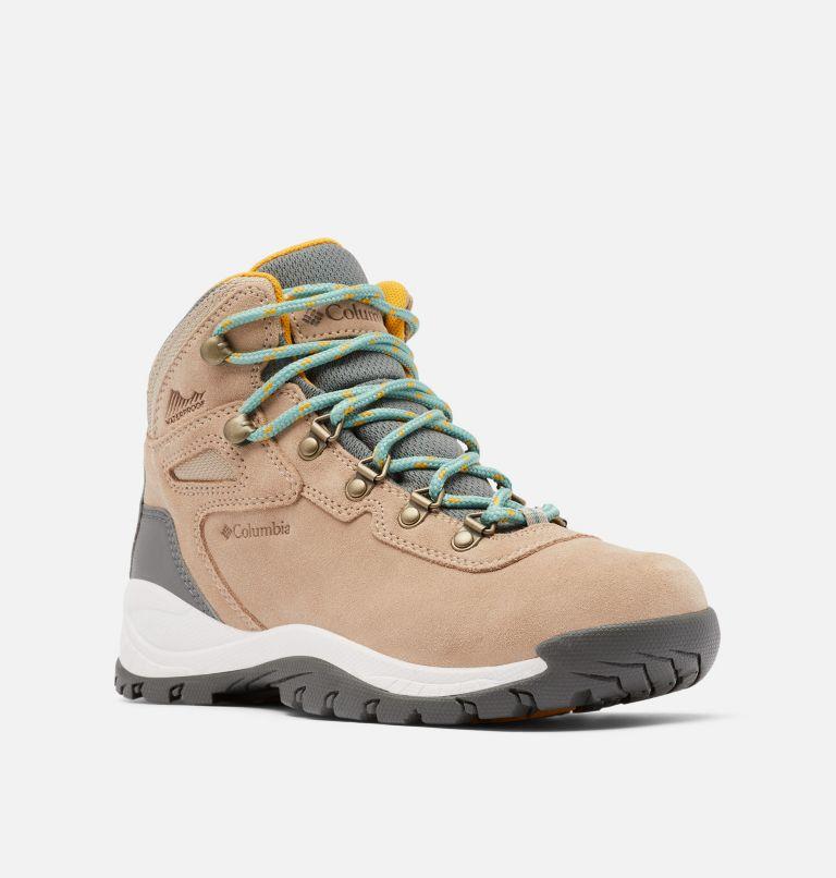 NEWTON RIDGE™ PLUS WATERPROOF AMPED WIDE | 213 | 7.5 Women's Newton Ridge™ Plus Waterproof Amped Hiking Boot - Wide, Oxford Tan, Dusty Green, 3/4 front