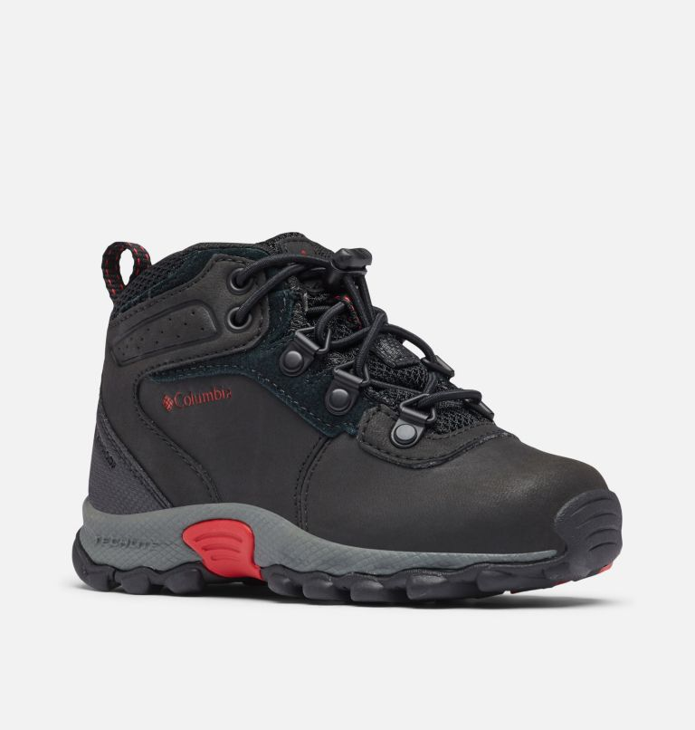 CHILDRENS NEWTON RIDGE™ | 010 | 11 Little Kids' Newton Ridge™ Waterproof Hiking Boot, Black, Mountain Red, 3/4 front