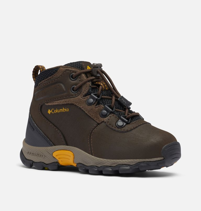 CHILDRENS NEWTON RIDGE™ | 231 | 12 Little Kids' Newton Ridge™ Waterproof Hiking Boot, Cordovan, Golden Yellow, 3/4 front