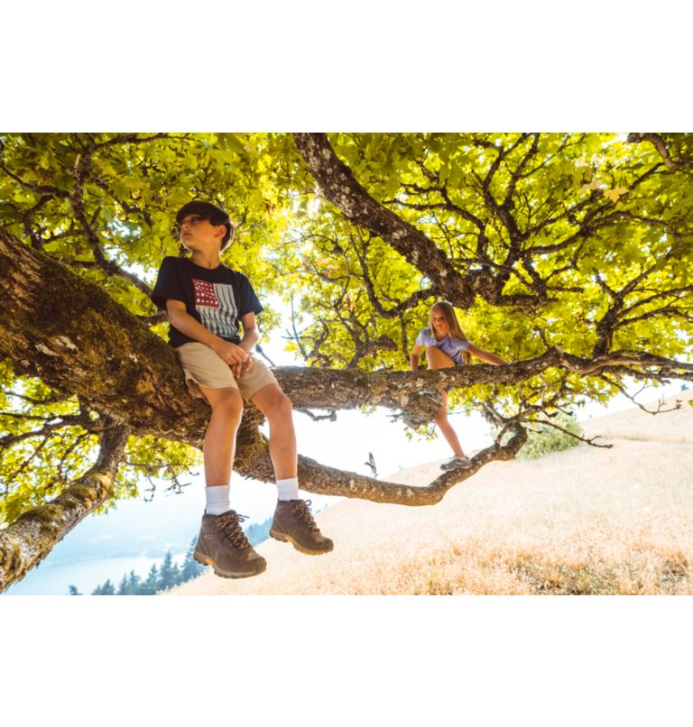 YOUTH NEWTON RIDGE™ WIDE   010   4 Big Kids' Newton Ridge™ Waterproof Hiking Boot - Wide, Black, Mountain Red, a1