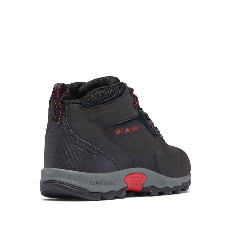 YOUTH NEWTON RIDGE™ WIDE | 010 | 6 Big Kids' Newton Ridge™ Waterproof Hiking Boot - Wide, Black, Mountain Red, 3/4 back