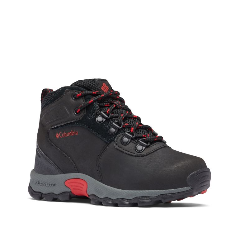 YOUTH NEWTON RIDGE™ WIDE | 010 | 6 Big Kids' Newton Ridge™ Waterproof Hiking Boot - Wide, Black, Mountain Red, 3/4 front
