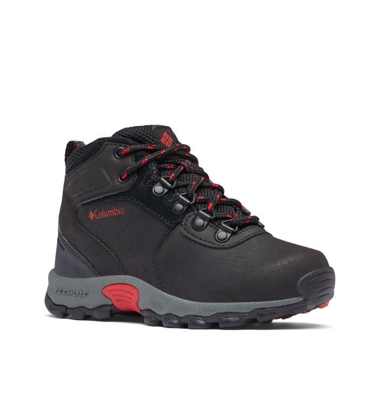 YOUTH NEWTON RIDGE™ WIDE   010   4 Big Kids' Newton Ridge™ Waterproof Hiking Boot - Wide, Black, Mountain Red, 3/4 front