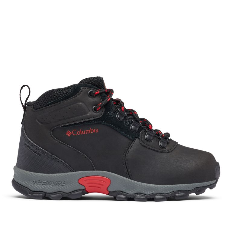 YOUTH NEWTON RIDGE™ WIDE   010   4 Big Kids' Newton Ridge™ Waterproof Hiking Boot - Wide, Black, Mountain Red, front