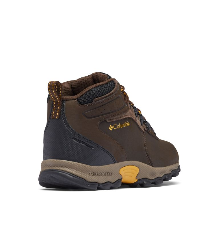 YOUTH NEWTON RIDGE™ WIDE | 231 | 5 Big Kids' Newton Ridge™ Waterproof Hiking Boot - Wide, Cordovan, Golden Yellow, 3/4 back