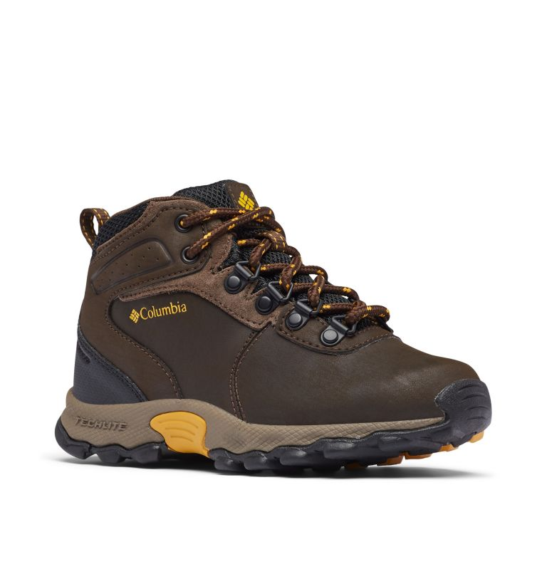 YOUTH NEWTON RIDGE™ WIDE   231   7 Big Kids' Newton Ridge™ Waterproof Hiking Boot - Wide, Cordovan, Golden Yellow, 3/4 front