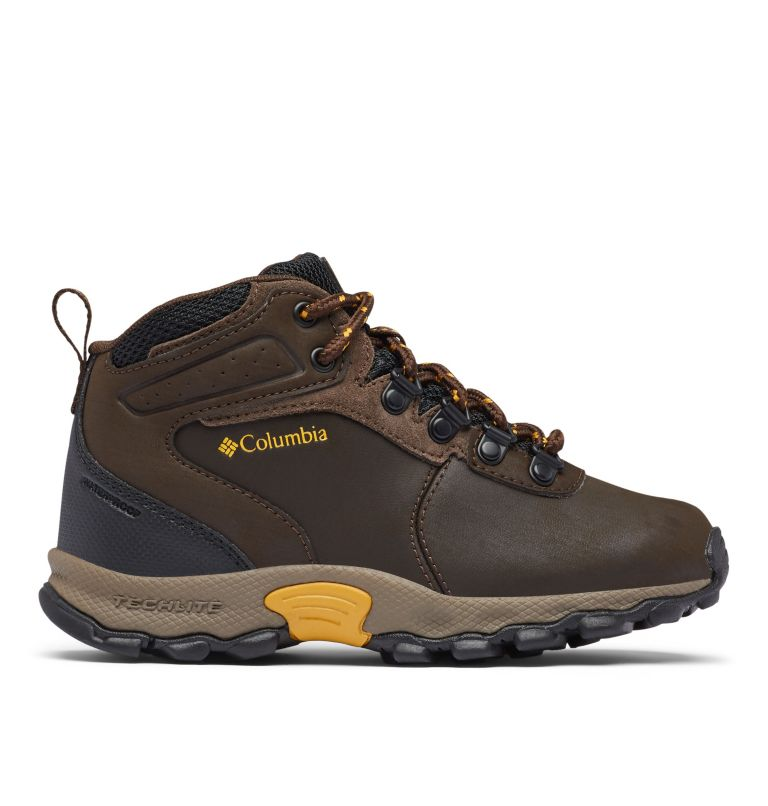 YOUTH NEWTON RIDGE™ WIDE   231   7 Big Kids' Newton Ridge™ Waterproof Hiking Boot - Wide, Cordovan, Golden Yellow, front