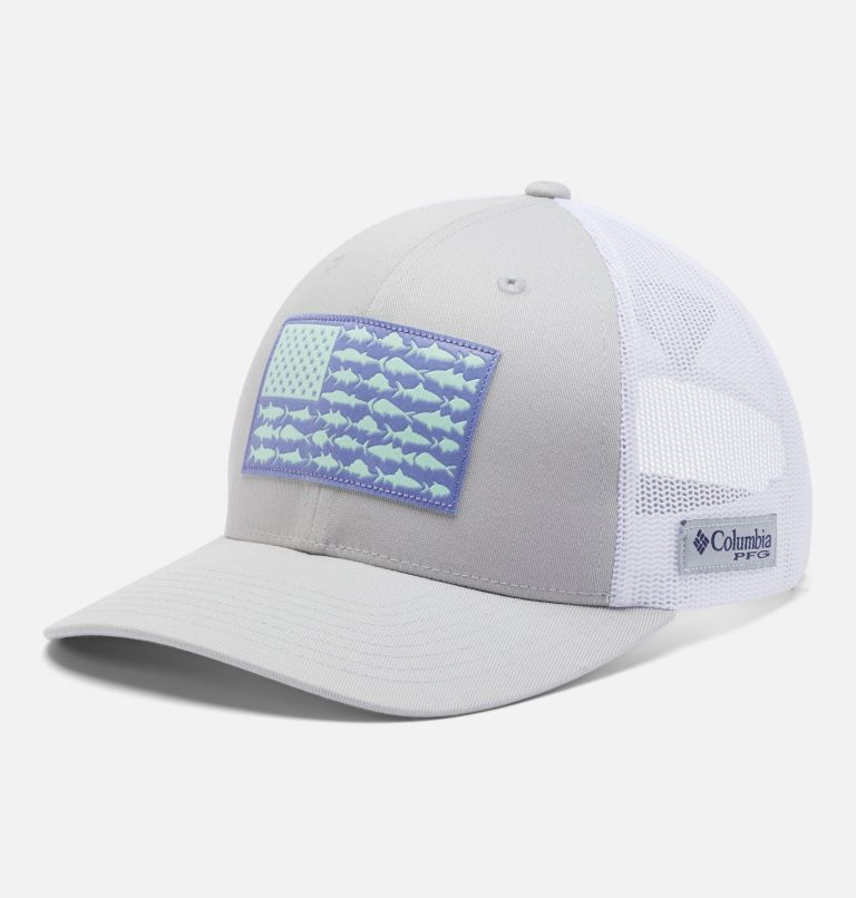 PFG Mesh™ Womens Ball Cap   019   O/S Women's PFG Mesh Snap Back™ Ball Cap, Cool Grey, Fish Flag, front