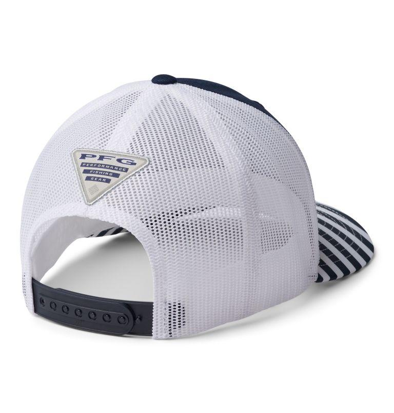 PFG Mesh™ Womens Ball Cap | 469 | O/S Women's Striped PFG Mesh Snap Back™ Ball Cap, Coll Navy, White, Coll Navy Stripe, PFG, back