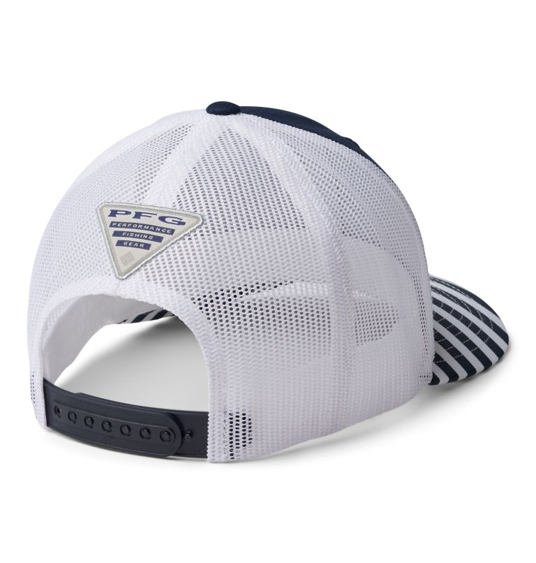 PFG Mesh™ Womens Ball Cap | 469 | O/S Women's Striped PFG Mesh Snap Back™ Ball Cap, Coll Navy, White, Coll Navy Stripe, PFG, back