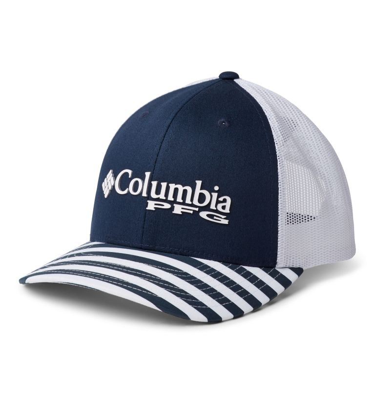 PFG Mesh™ Womens Ball Cap | 469 | O/S Women's Striped PFG Mesh Snap Back™ Ball Cap, Coll Navy, White, Coll Navy Stripe, PFG, front