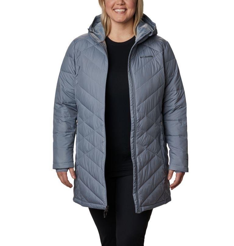 Heavenly™ Long Hdd Jacket | 032 | 3X Women's Heavenly™ Long Hooded Jacket - Plus Size, Tradewinds Grey, front