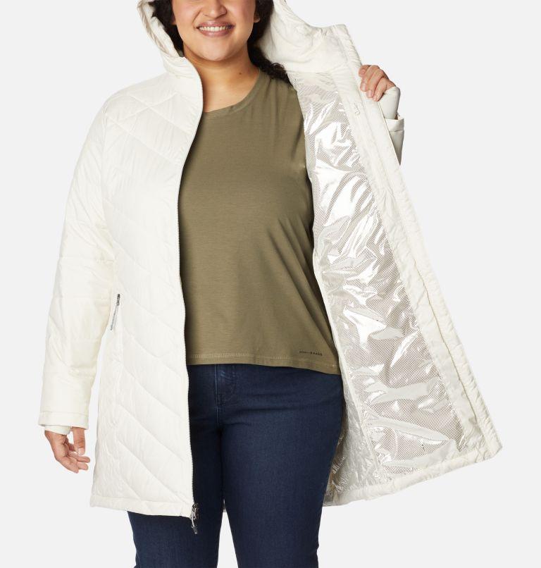 Heavenly™ Long Hdd Jacket | 191 | 2X Women's Heavenly™ Long Hooded Jacket - Plus Size, Chalk, a3