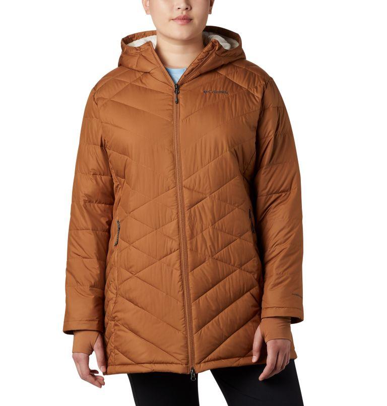 Heavenly™ Long Hdd Jacket | 224 | 1X Women's Heavenly™ Long Hooded Jacket - Plus Size, Camel Brown, front