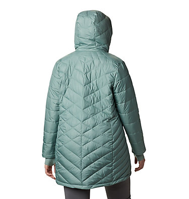 Women's Heavenly™ Long Hooded Jacket - Plus Size Heavenly™ Long Hdd Jacket | 870 | 1X, Light Lichen, back