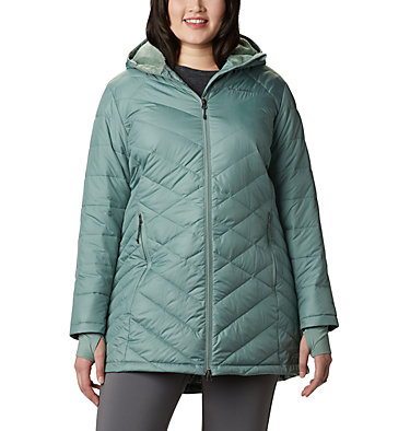 Women's Heavenly™ Long Hooded Jacket - Plus Size Heavenly™ Long Hdd Jacket | 870 | 1X, Light Lichen, front