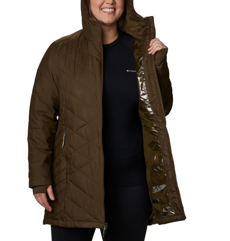 Heavenly™ Long Hdd Jacket | 319 | 2X Women's Heavenly™ Long Hooded Jacket - Plus Size, Olive Green, a3