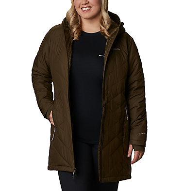 Women's Heavenly™ Long Hooded Jacket - Plus Size Heavenly™ Long Hdd Jacket | 671 | 1X, Olive Green, front