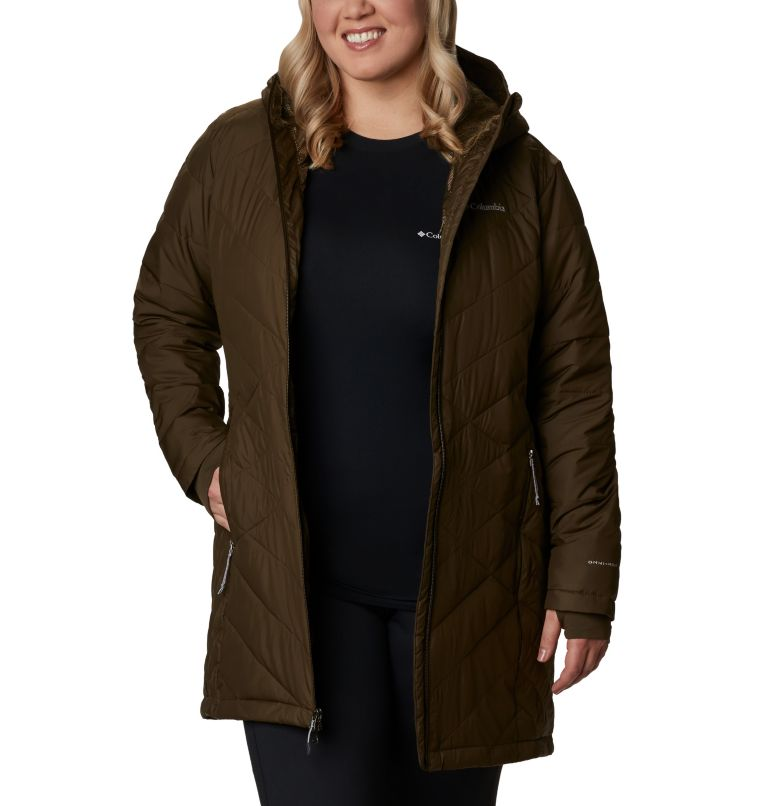 Heavenly™ Long Hdd Jacket | 319 | 2X Women's Heavenly™ Long Hooded Jacket - Plus Size, Olive Green, front
