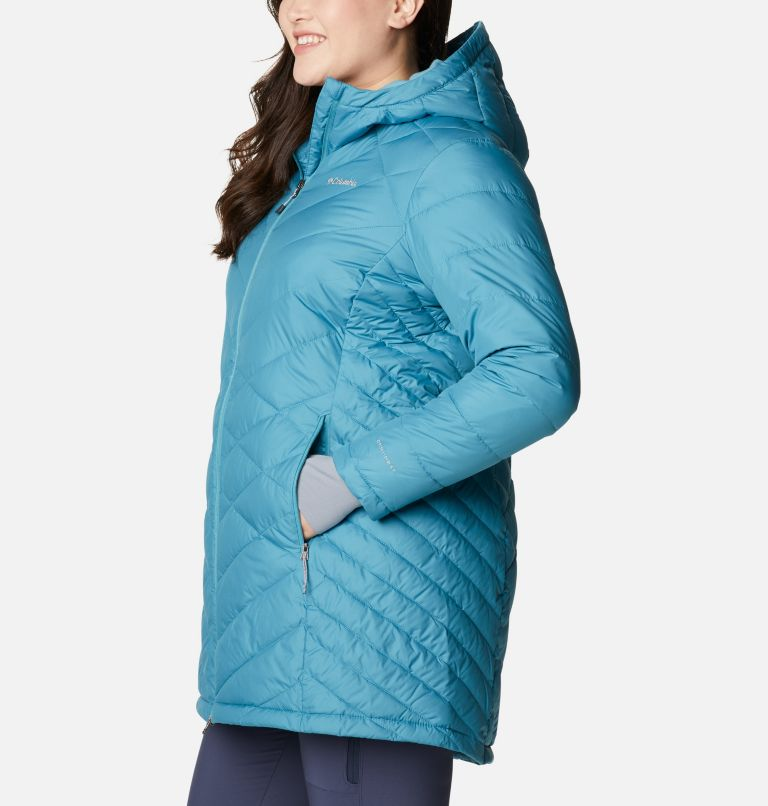 Heavenly™ Long Hdd Jacket | 430 | 1X Women's Heavenly™ Long Hooded Jacket - Plus Size, Canyon Blue, a1