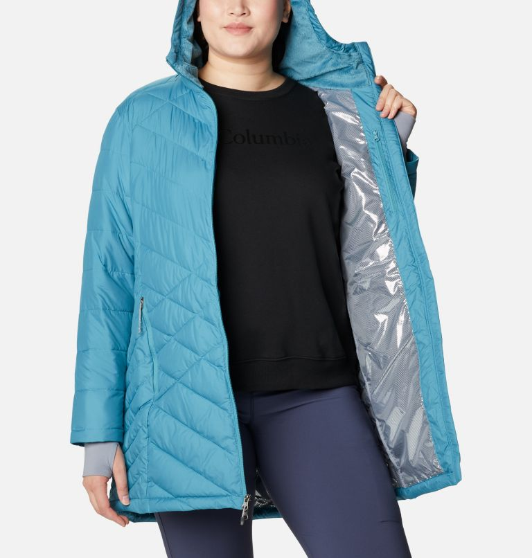 Heavenly™ Long Hdd Jacket | 430 | 1X Women's Heavenly™ Long Hooded Jacket - Plus Size, Canyon Blue, a3