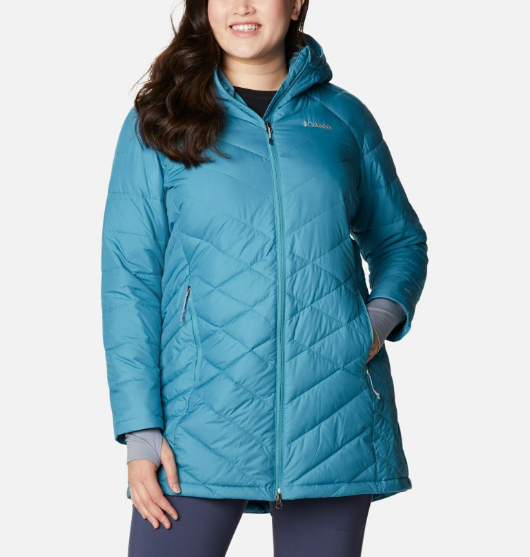 Heavenly™ Long Hdd Jacket | 430 | 1X Women's Heavenly™ Long Hooded Jacket - Plus Size, Canyon Blue, a5