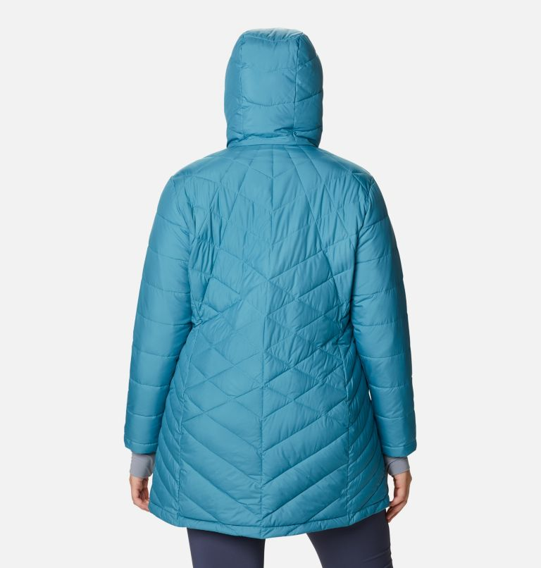 Heavenly™ Long Hdd Jacket | 430 | 1X Women's Heavenly™ Long Hooded Jacket - Plus Size, Canyon Blue, back