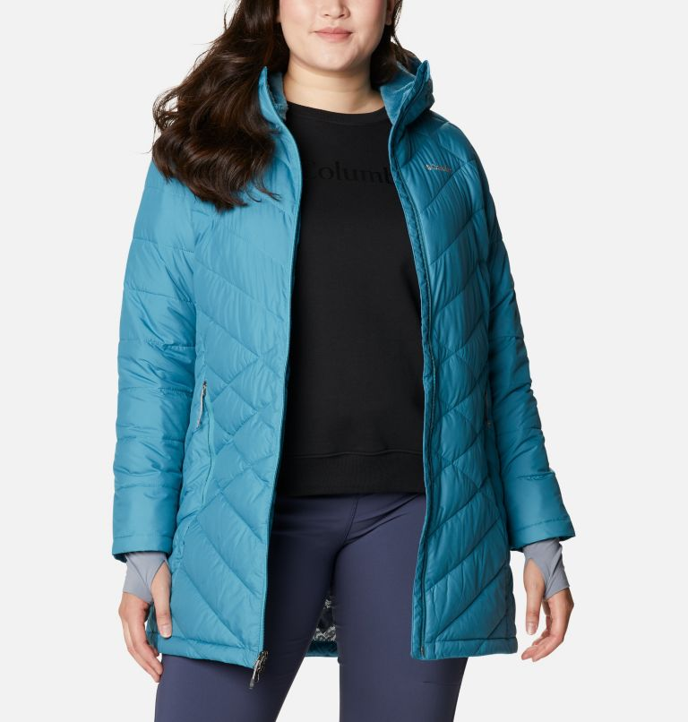 Heavenly™ Long Hdd Jacket | 430 | 1X Women's Heavenly™ Long Hooded Jacket - Plus Size, Canyon Blue, front