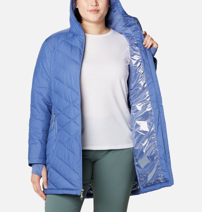 Heavenly™ Long Hdd Jacket | 458 | 2X Women's Heavenly™ Long Hooded Jacket - Plus Size, Velvet Cove, a3