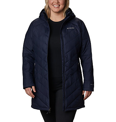 Women's Heavenly™ Long Hooded Jacket - Plus Size Heavenly™ Long Hdd Jacket | 671 | 1X, Dark Nocturnal, front