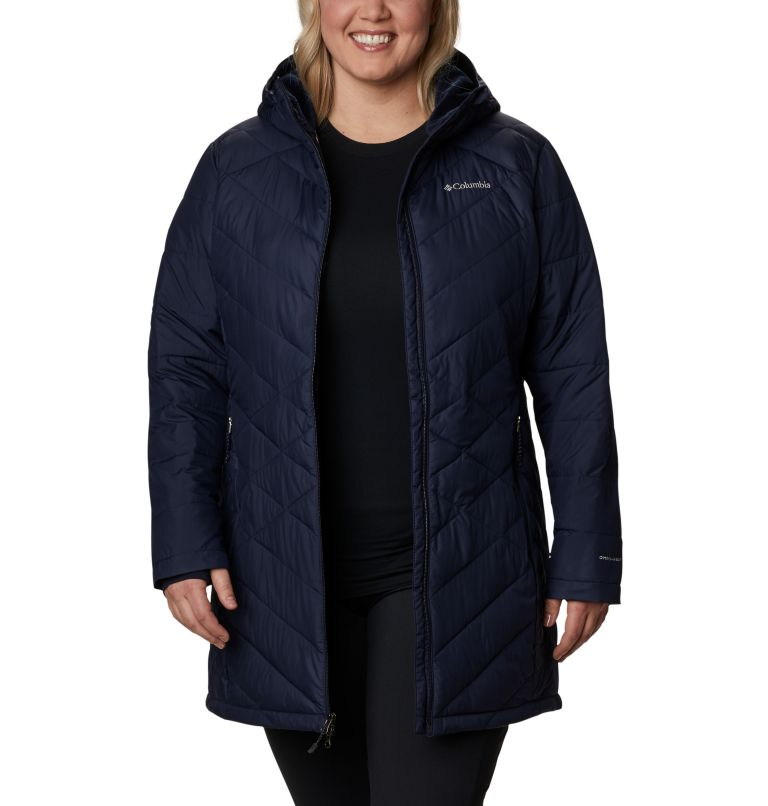 Heavenly™ Long Hdd Jacket   472   2X Women's Heavenly™ Long Hooded Jacket - Plus Size, Dark Nocturnal, front