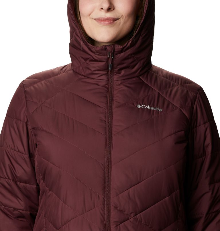 Heavenly™ Long Hdd Jacket | 671 | 2X Women's Heavenly™ Long Hooded Jacket - Plus Size, Malbec, a2