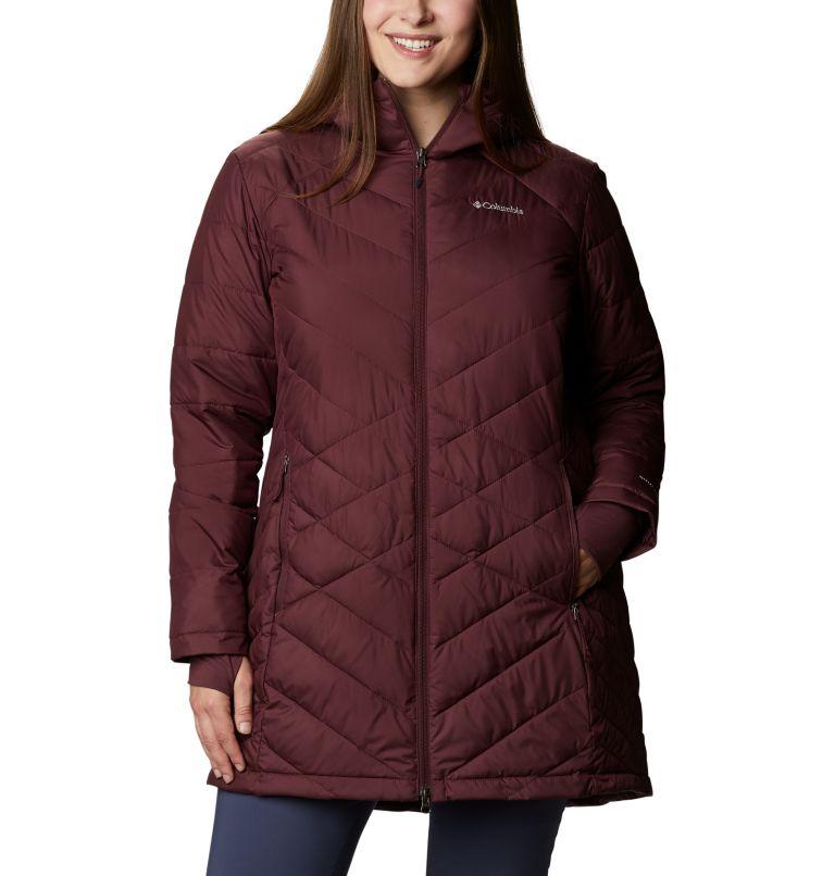 Heavenly™ Long Hdd Jacket | 671 | 1X Women's Heavenly™ Long Hooded Jacket - Plus Size, Malbec, front