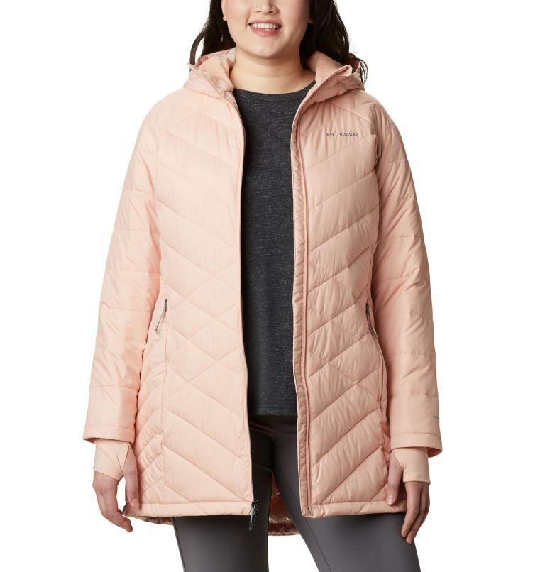 Heavenly™ Long Hdd Jacket   870   2X Women's Heavenly™ Long Hooded Jacket - Plus Size, Peach Cloud, front
