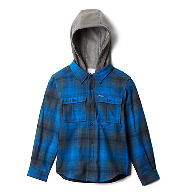 Kids' Boulder Ridge™ Flannel Hoodie Boulder Ridge™ Flannel Hoodie | 464 | L, Collegiate Navy Plaid, back